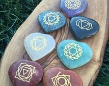 Item 4, Chakra Stones, Hearts, Chakra Stone Set, Chakra Stone, Heart Chakra Stones, Reiki, Reiki Stones