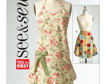 Trendy Aprons, full and half apron with hemline flounce, See & Sew, Butterick 5125, EASY, sz S-M-L, UN-CUT, Out of Print
