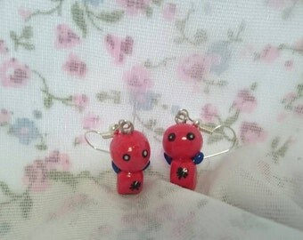 Spiderman chibi earrings. Marvel. Comic. Geek. Nerd.