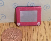Hand made Dolls house Miniature replica vintage Etch A Sketch 112 scale
