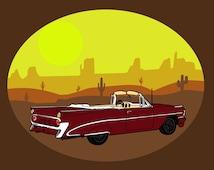 Red American car poster-Cactus desert print-Brown and yellow print-Tex mex poster-Decorative Art Print-Large Print-Panorama-Colourful print