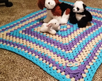 Granny Square Baby Blanket with Owl Decal
