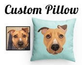 CUSTOM PET PILLOW | Throw Pillow | Custom Portrait | Choose Background Color | Dog Lover Gift | Turn your photo into art