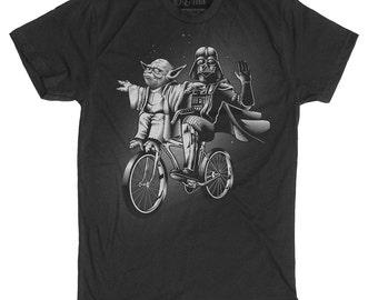 Star Wars Shirt -Yoda Shirt - Darth Vader and Yoda Riding a Bike Hand Screen printed on a Mens t-shirt