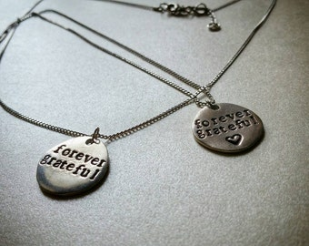 Forever Grateful pewter charm necklace