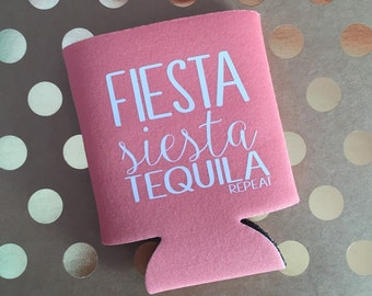 Fiesta Siesta Tequila REPEAT | Bachelorette Monogram Can Coolers