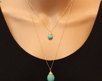Small Turquoise Long necklace, Turquoise necklace,long necklace,statement necklace,gift for mom,elegant necklace,gift for woman,Turquoise