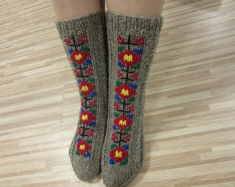 Gray Wool Socks, Knitted Women's Socks, Men's Socks, Embroidered Socks, Handmade socks,  Folklore Socks, Christmas Gift, Ready to ship