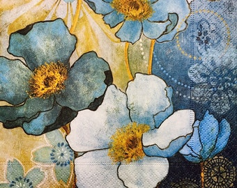 """3 Decoupage Napkins, Floral Harmony in Blue, 13"""" x 13"""""""
