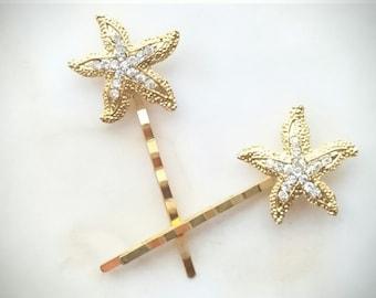 Gold Rhinestone Starfish Bobby Pins Beach Wedding Bridal Hair Accessory Gold Hair Clips Starfish Hair Pins Bridesmaid Gift