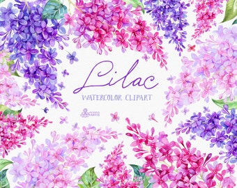 Lilac Watercolor Clipart, card, floral elements, wedding, invitation, greeting, diy clip art, flowers, quote, spring, valentines, violet