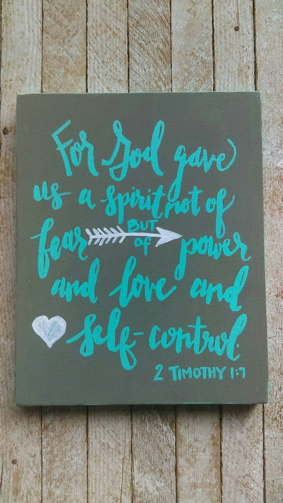 Scripture Canvas Art - 8X10 turquoise and gray, nursery art, 2 Timothy 1:7, love verse, Bible verse, Christian art