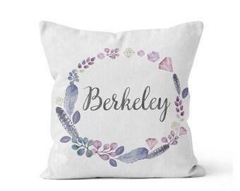 Custom Baby Girl Name Nursery Throw Pillow/ Purple Grey Floral/ Custom Name/ Baby Girl/ Nursery Pillow/ Personalized Name Pillow/ White