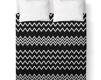 Black and White Stripes Duvet Cover/ Comforter cover/  3 sizes available, king, queen, twin /bedding/ Made To Order/ Classic/ Minimalist /