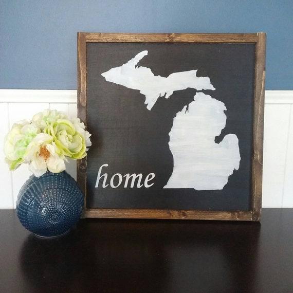 Home Decor Trim: Michigan Home Decor Rustic Wood Sign With Wood Trim Black
