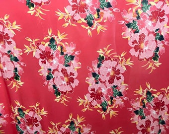 Pink Floral - Poly Spandex - By The Yard