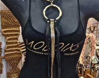 FREE SHIPPING!!! Leather bib necklace,boho,fringe,flecos,hippie,chic,gypsy,vintage,ethnic,collar babero,piel,étnico,fringe,flecos