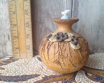 Brown Vase Pottery Oil Lamp with Flower Detail; Carma Pottery