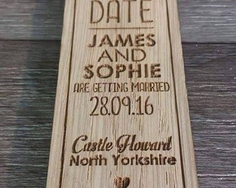 Wooden Save the Date Magnets bookmark style ideal for Wedding or special events - 00059