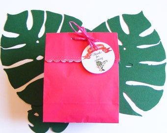 Paper favor bags with thank you tags. 4 sets