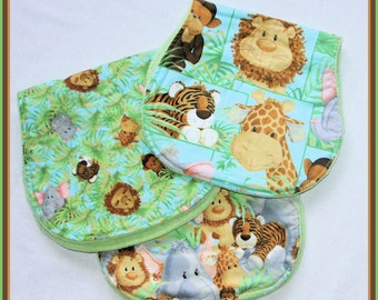 Jungle Animals Burp Cloths - Set of 3 Gender Neutral Baby Burp Cloths,  Lion, Tiger, Monkey, Giraffe and Elephant - Greens, Tans and Blue