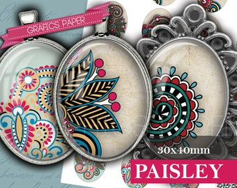 Paisley Ornaments - digital collage sheet - OV16 - 30 x 40mm ovals - Ovals Images for Earrings, Cabochons Printable Digital Image