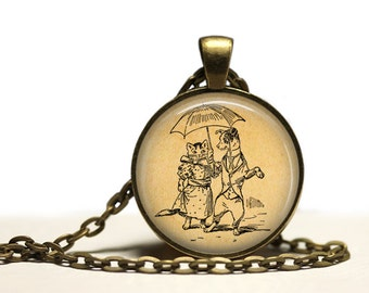 Romantic cat and dog necklace Animal pendant Vintage love jewelry