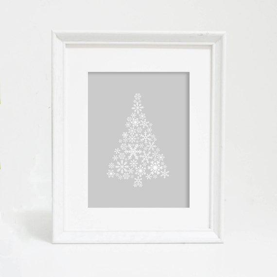 Simple Christmas Art, Christmas Art, Winter Decor, Christmas Tree, Christmas Print, Snowflake Print, Christmas Tree Print, Christmas Decor