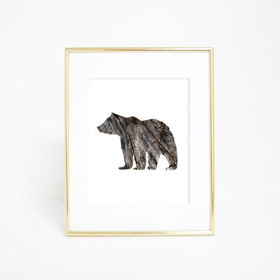 Woodland Print, Bear Print, Woodlands Nursery, Digital Print, Printable Wall Art, Bear Wall Art, Bear Prints, Bear Wall Print, Rustic Print