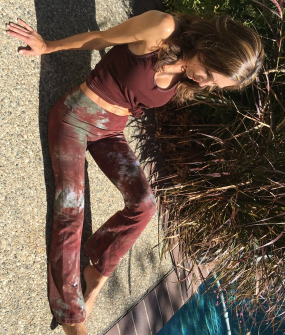 Tall Earth Brown Green Tie Dye Yoga Pants Including Extra Long and Plus Sizes by Splash Dye Activewear