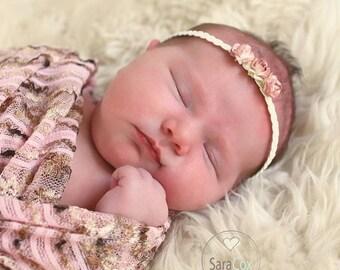 Scarlett Newborn Flower Braided Headband Photo Prop