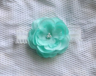 Aqua Pearl Rose Flower Newborn Headband Photo Prop