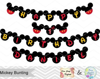 Instant Download Mickey Bunting, Printable Mickey Banner, Mickey Mouse Birthday Party Banner, Printable Mickey Birthday Party Banner, 00018