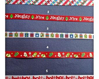 1/2 Wide Custom Made Adjustable Christmas Patterns Grosgrain Breakaway Cat Collar