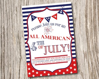 4th of July, Independence, BBQ, Backyard, All American, Annual, Birthday, Baby Shower, Stars, Fireworks, Invitation, Printable, Digital