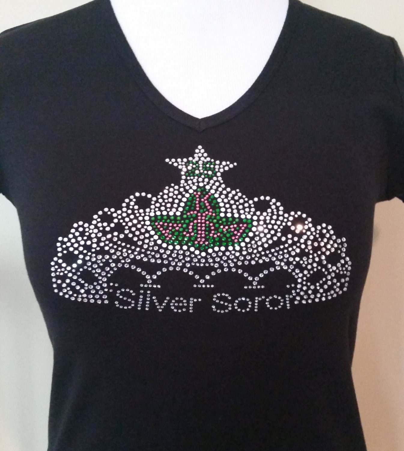 Aka 25 Years Silver Soror Crown Rhinestone T Shirt Apha