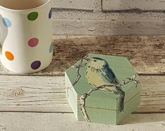 Decorative trinket box decoupage bird design