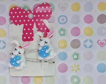 Easter bunny hair clips / slides children's hair accessories