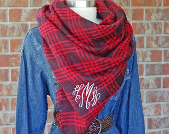 Monogrammed Blanket Scarf-Red Blanket Scarf-Red Scarf-Red Plaid-Monogram Red Scarf-Christmas Plaid-monogram scarf-monogrammed scarf-Personal