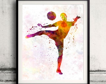 Man soccer football player 07 - poster watercolor wall art gift splatter sport soccer illustration print artistic - SKU 1451
