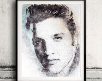Elvis Presley portrait 02 in pen & watercolor - Fine Art Print Glicee Poster Gift Illustration Artist Poster - SKU 1961