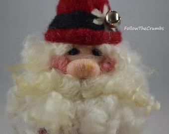 Santa, Wool Needle-felted, Handmade
