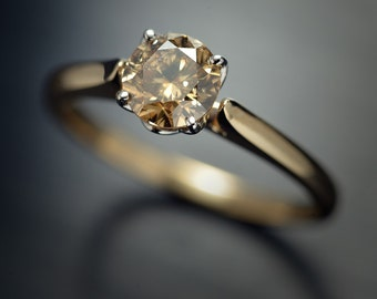 Champagne/Brown Natural Round Brilliant  Diamond engagement ring