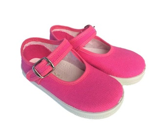 Pekes 'Ruespi ' Pink Canvas Children Maryjane Shoes'