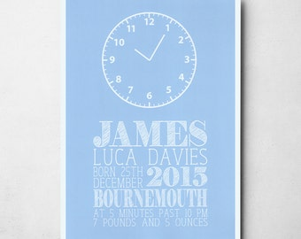 Personalised Blue Baby's Clock A4/A3 Print
