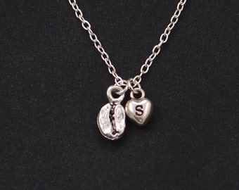 coffee bean necklace, sterling silver filled, initial necklace, silver coffee bean charm, coffee bean gift, coffee lover gift, food jewelry