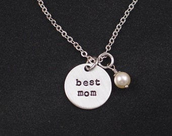 Mother's Day, Mom, Best Mom necklace, Swarovski pearl of your choice, hand stamped necklace, gift for mother, mom cute gift, childrens gift