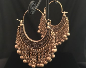 Bronze dangle hoop earrings