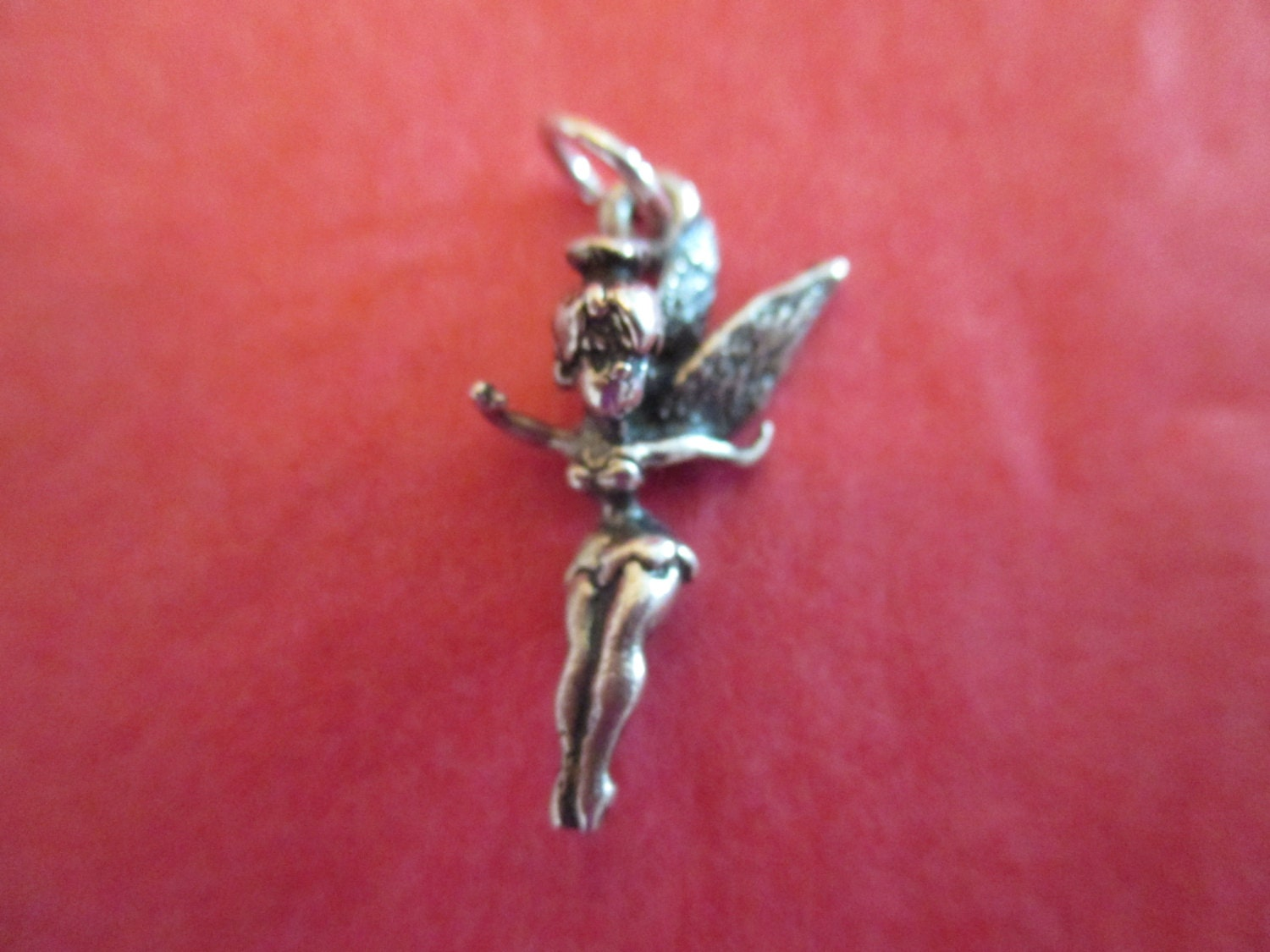 disney 1950s tinkerbell charm sterling silver by woodnsparkle