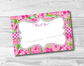 Lilly Pulitzer First Impression Thank You Card Printable 4x6 - First Impressions Thank You Card - INSTANT DOWNLOAD Thank You Card